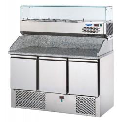 Tavolo pizza refrigerato 3 porte, piano in granito con alzata e vetrina refrigerata