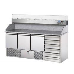 Saladette refrigerata 3 porte, 6 cassetti, piano in granito e vetrina refrigerata