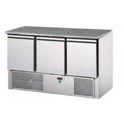 Saladette refrigerata 3 porte, piano in granito