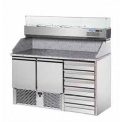 Saladette refrigerata 2 porte, 6 cassetti, piano in granito e vetrina refrigerata