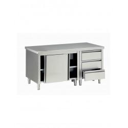 Tavolo Armadiato inox 160 x 70    H 85 cm con 3 cassetti