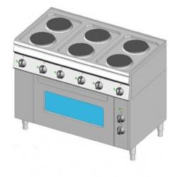 Piano Cottura elettrico 6 piastre con forno elettrico monofase