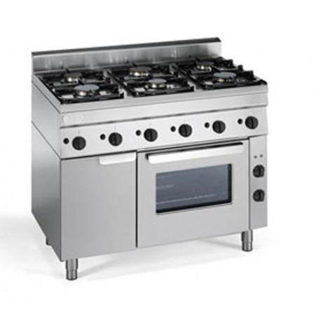 Piano cottura 6 fuochi gas 105x60 con forno ventilato for Piano cottura cucina