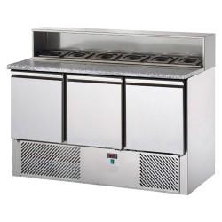 Tavolo pizza refrigerato 3 porte, piano in granito, alzata in acciaio con 8 vaschette Gn 1/6