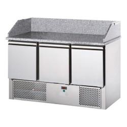 Tavolo pizza refrigerato 3 porte, piano in granito con alzata
