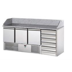 Saladette refrigerata 3 porte, 6 cassetti e piano in granito