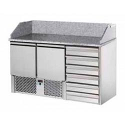 Saladette refrigerata 2 porte, 6 cassetti + piano in granito